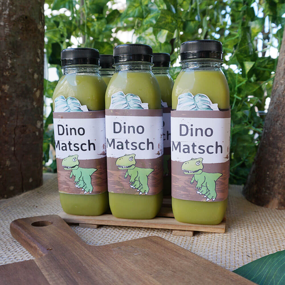 mini-presents Smoothie Etiketten Dino Party Deko