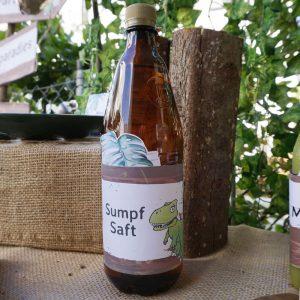 mini-presents Saftflaschen Etiketten Dino Party Deko