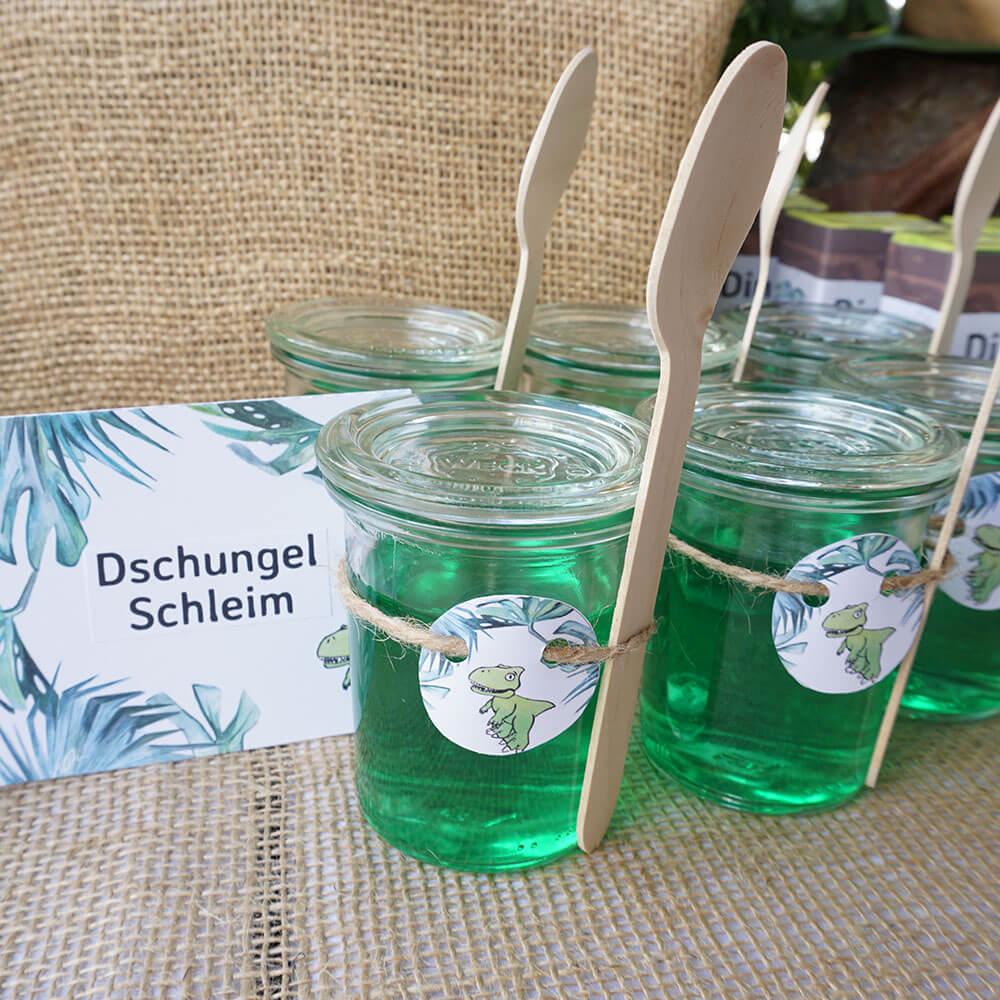 mini-presents Trinkpäckchen Dschungel Schleim Dessert Etiketten Dino Party Deko