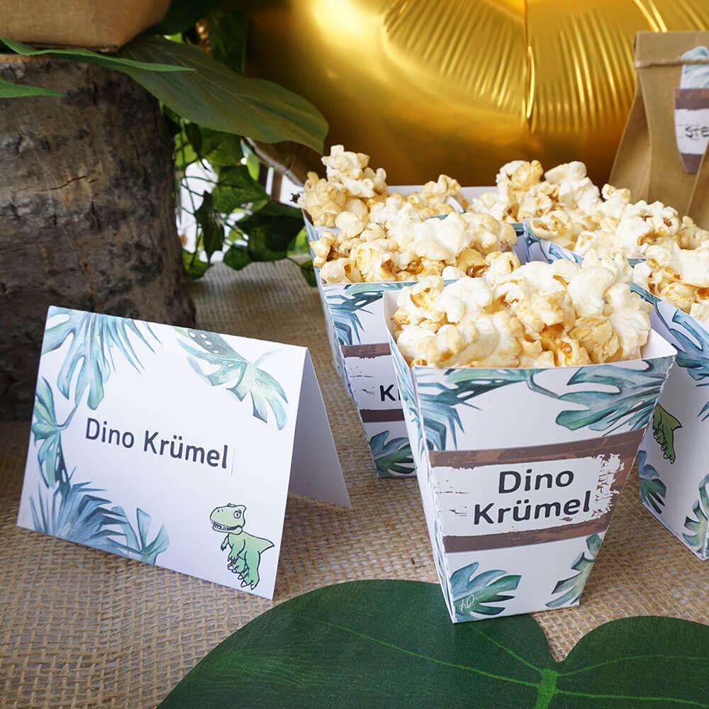 mini-presents Popcorntüten Dino Party Deko