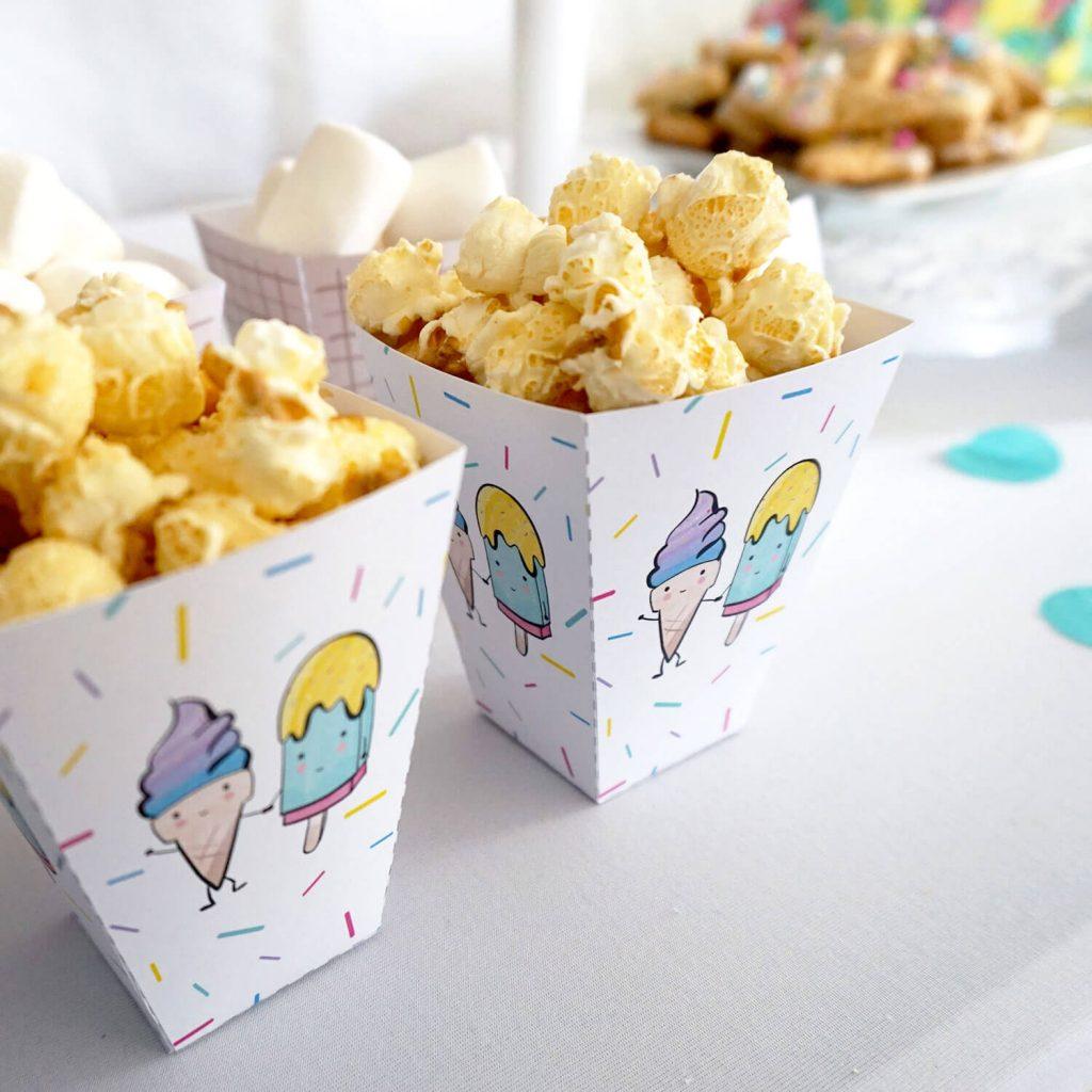 Popcorn und Marshmallows