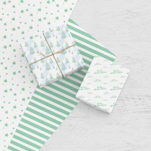 Weihnachtsgeschenkpapier mint zum Ausdrucken