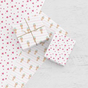 Weihnachtsgeschenkpapier pink zum Ausdrucken