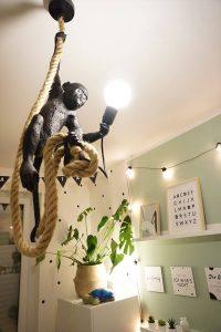 Kinderzimmer Einrichtung Lichterkette Affenlampe