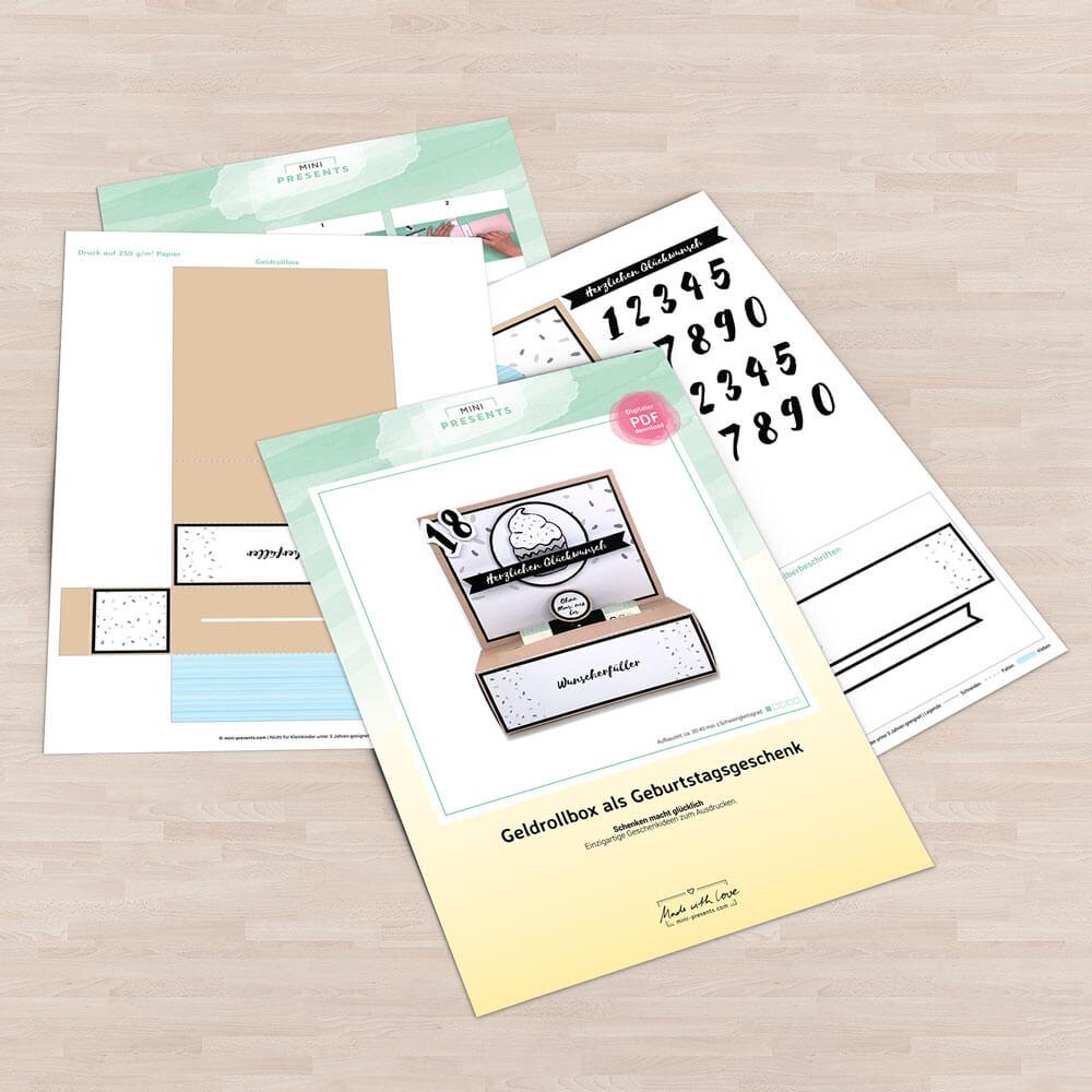 Gelddruckmaschine als Geburtstagsgeschenk Bastelvorlage