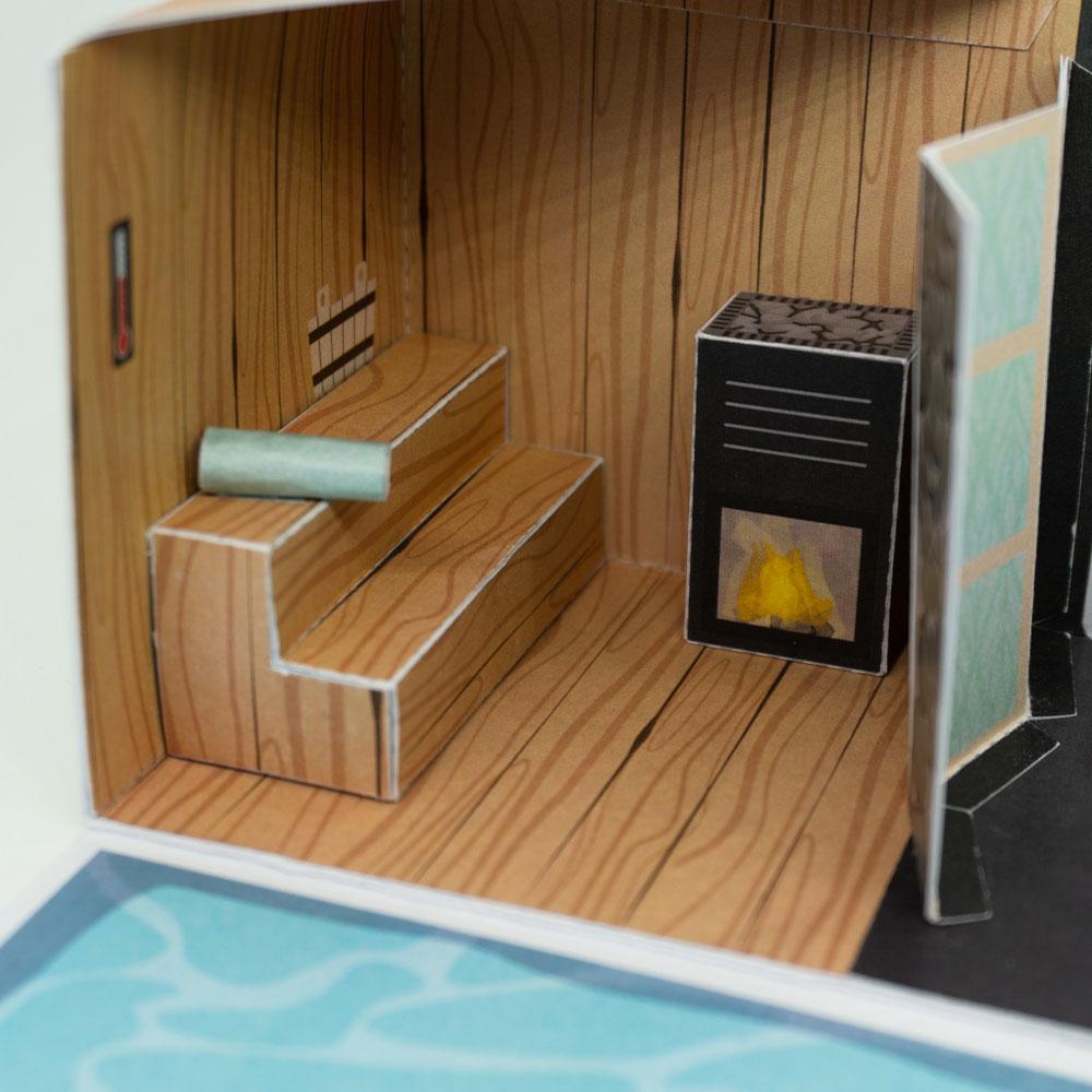 Wellness Geschenk Explosionsbox Sauna
