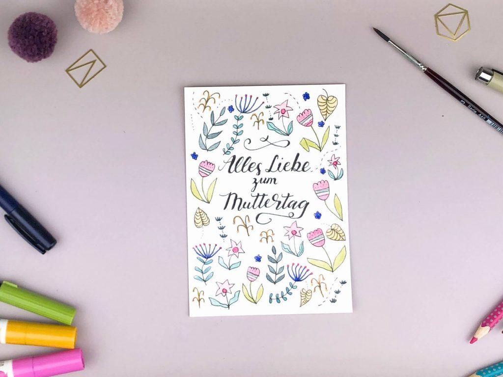 Handlettering Muttertagskarte