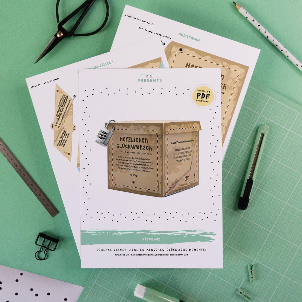 Rätsel Box Vorlage als lustiges Geburtstagsgeschenk