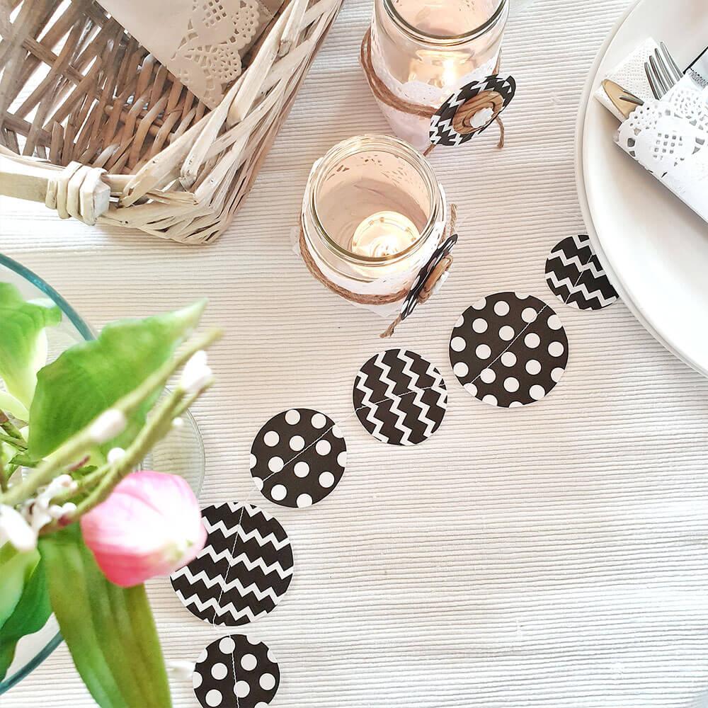 DIY Tischdeko schwarz weiß