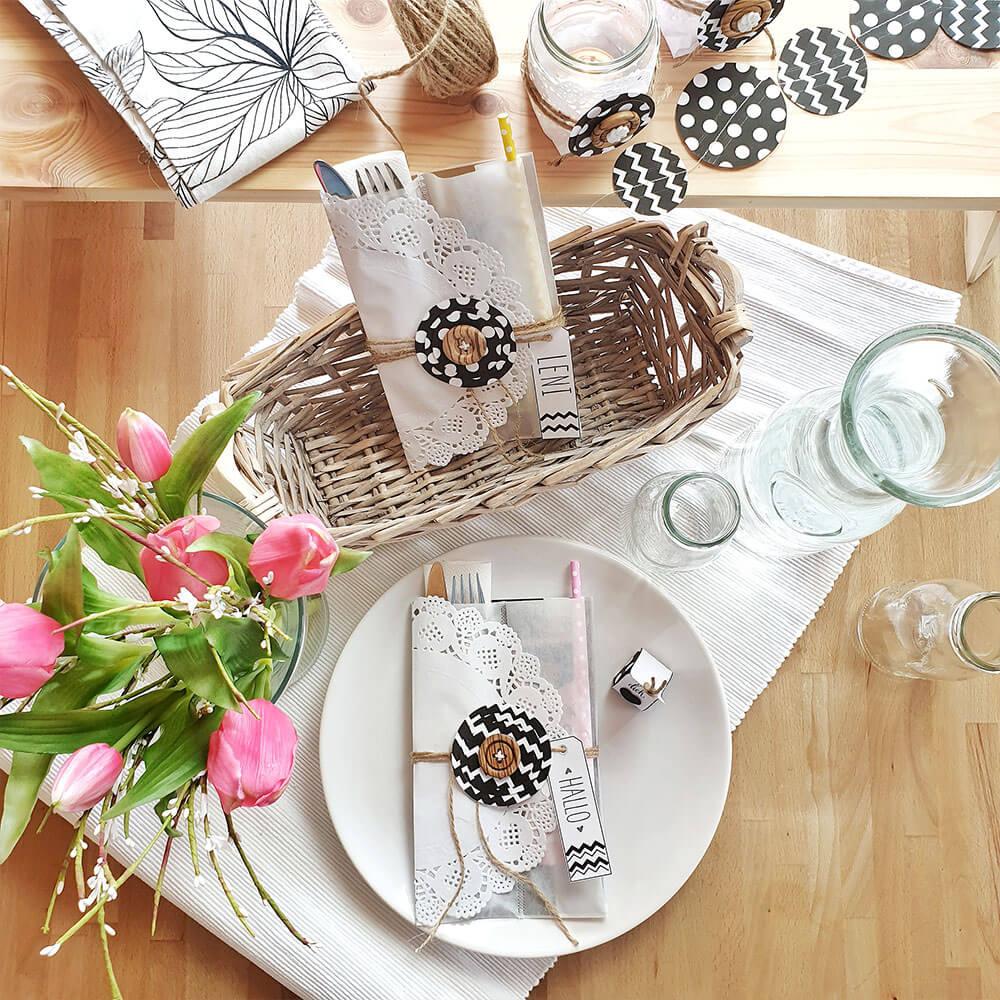 DIY Bestecktaschen schwarz weiß