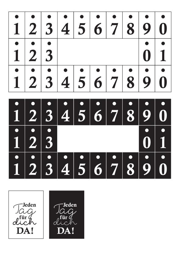 Zahlen und Text für den Kalender Bilderrahmen